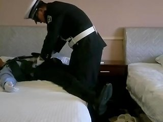 Strong Chinese Police Officers Play With Suit Little Master Slave